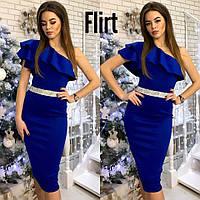 Платье модное на одно плечо с воланами и поясом из камней миди дайвинг разные цвета SMfL2016
