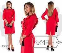 Платье батал приталенное с декором рюшами fmx7535
