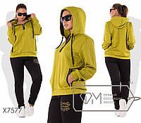 Женский спортивный костюм в больших размерах из трикотажа-стежки fmx7577