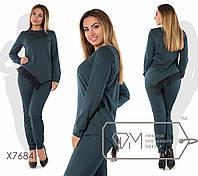 Женский брючный костюм в больших размерах с асимметричной кофтой fmx7684