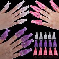 Зажимы для снятия гель-лака пластиковые, 10 штук (цвета в  ассортименте)