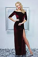 Красивое бордовое велюровое платье Рафаэлла