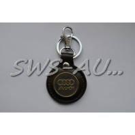 Брелок кожзам Audi коричневый с металлической вставкой 2-кольца