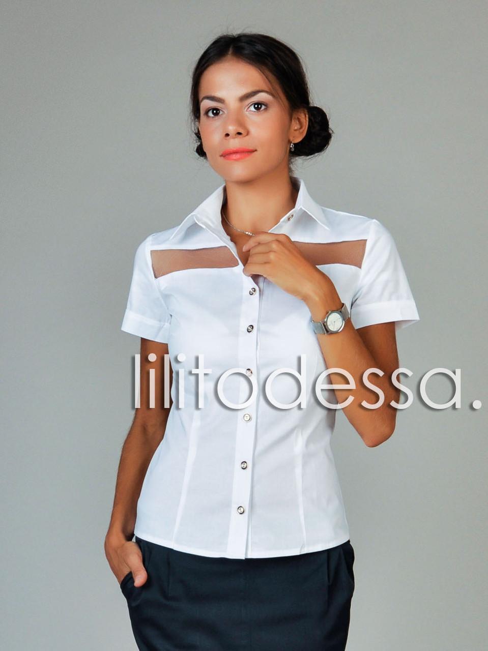 Блуза с прозрачными вставками белый