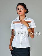 Блуза с прозрачными вставками белый, фото 1