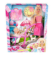 Набор с куклой Асей  'Семейный досуг'; 28  см.; блондинка; и маленькой куклой 11  см. в коляске