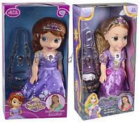 Кукла  Sofia Рапунцель  ZT8932/8  2 вида, муз, ожерелье, браслет, кольцо, коробке 20, 5*10*38 см.