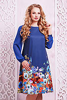 GLEM Индиго букет платье Тана-3БФ (шифон) д/р