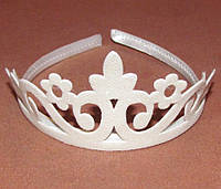 Детская блестящая корона на обруче белая