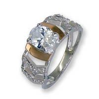 Кольцо из серебра с золотыми вставками, модель 113