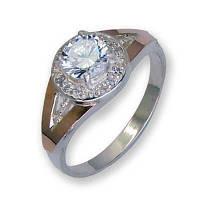 Кольцо из серебра с золотыми вставками, модель 103