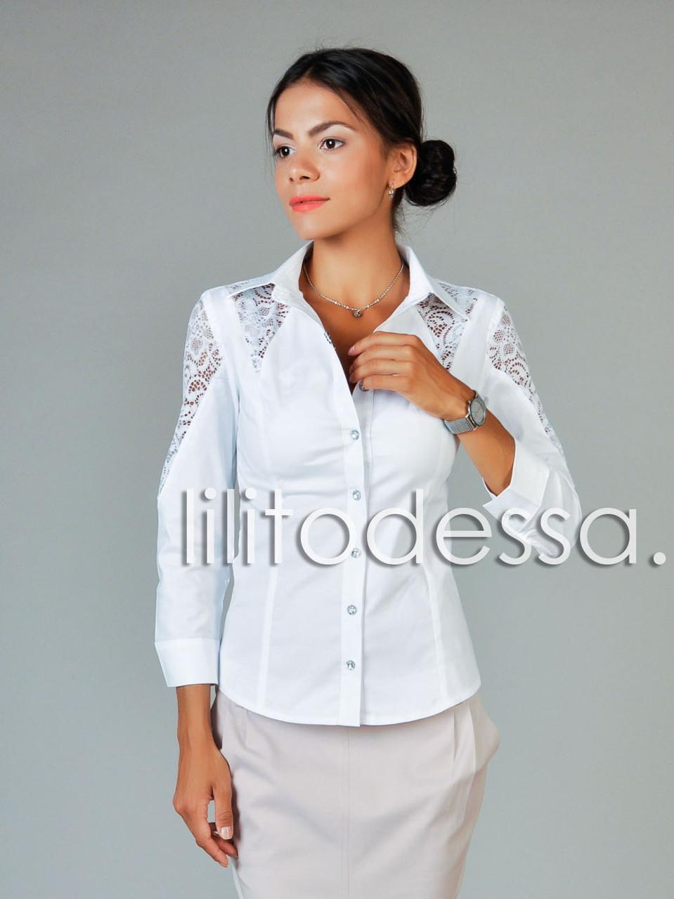 Рубашка с ажурными вставками белый