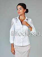 Рубашка с ажурными вставками белый, фото 1