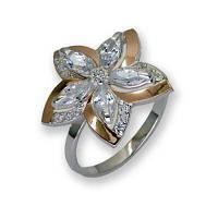 Кольцо из серебра с золотыми вставками, модель 090