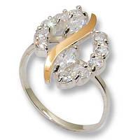 Кольцо из серебра с золотыми вставками, модель 079