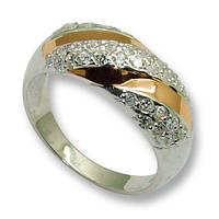 Кольцо из серебра с золотыми вставками, модель 074