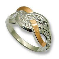 Кольцо из серебра с золотыми вставками, модель 071