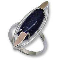 Кольцо из серебра с золотыми вставками, модель 064