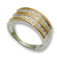 Кольцо из серебра с золотыми вставками, модель 066