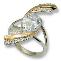 Кольцо из серебра с золотыми вставками, модель 060
