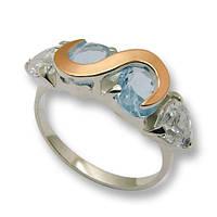 Кольцо из серебра с золотыми вставками, модель 055