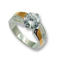 Кольцо из серебра с золотыми вставками, модель 046
