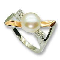 Кольцо из серебра с золотыми вставками, модель 041