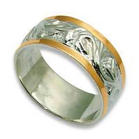 Кольцо из серебра с золотыми вставками, модель 036