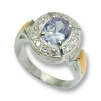 Кольцо из серебра с золотыми вставками, модель 025