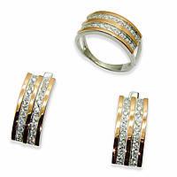 Красивый набор из серебра с золотыми накладками