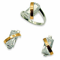 Гарнитур из серебра с золотыми вставками, модель 034