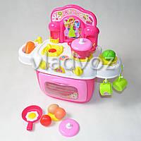 Детская пластиковая игровая кухня для девочки, плита 2 камфорки малиновая Kitchen Kids