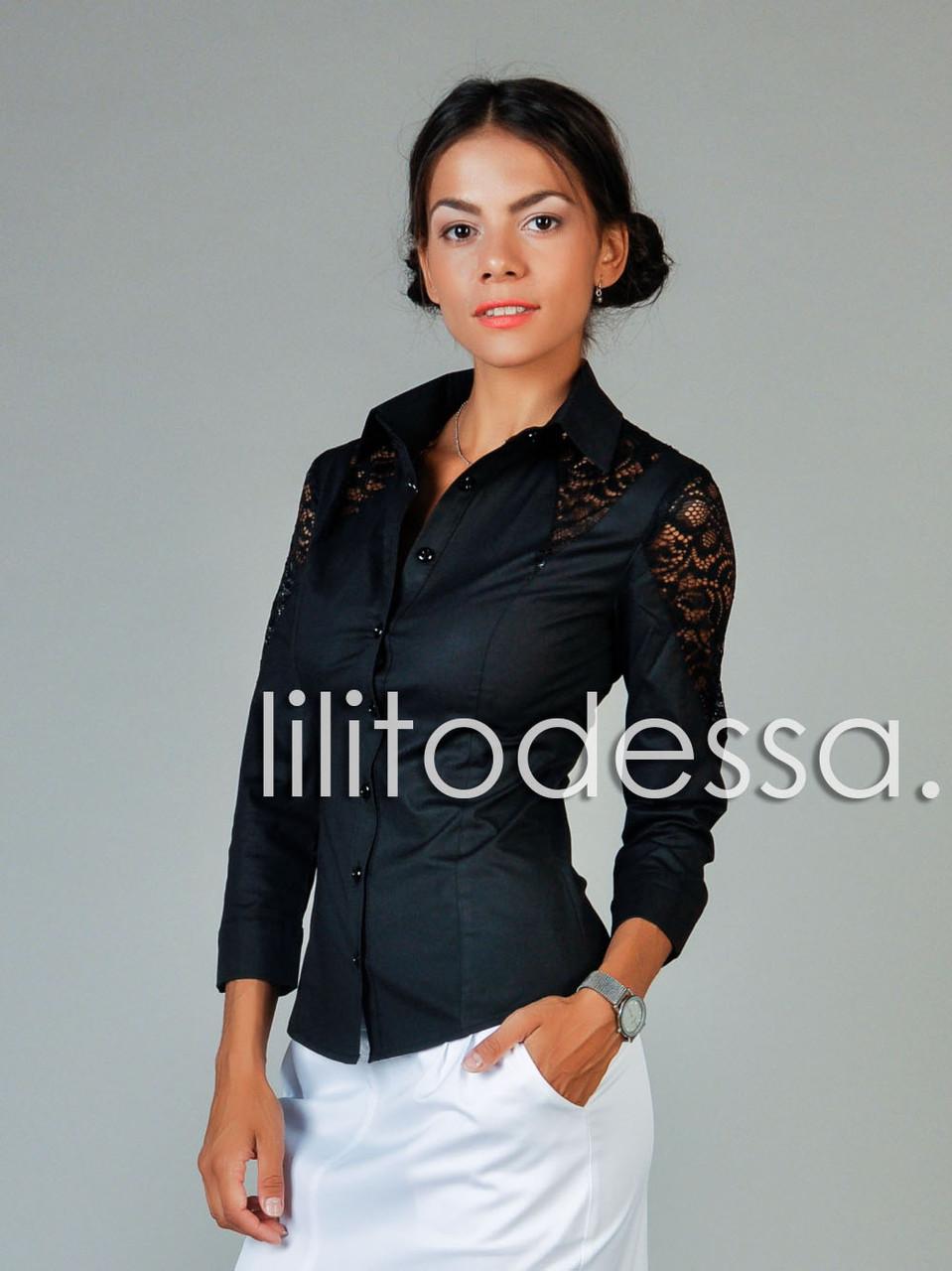 Рубашка с ажурными вставками черный