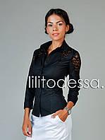 Рубашка с ажурными вставками черный, фото 1