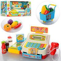 Детский игровой набор кассовый аппарат 35563A, сканер, св, калькулятор, продукт, тележка, на батарейке, в коробке,