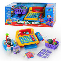Детский игровой набор кассовый аппарат 7016 обуч(цифры), кальк, микр, звук (русский), свет, на батарейк