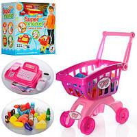 Детский игровой набор Магазин 6809-09A,  касс, аппарат, тележка, сканер, зв, св, прод-ты, 2 вида,  на батарейке,  в коробке,  35-36-23см