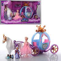 Карета 205 А, с куклой, лошадью, звук, свет, на батарейке, в коробке, 43-26-20 см