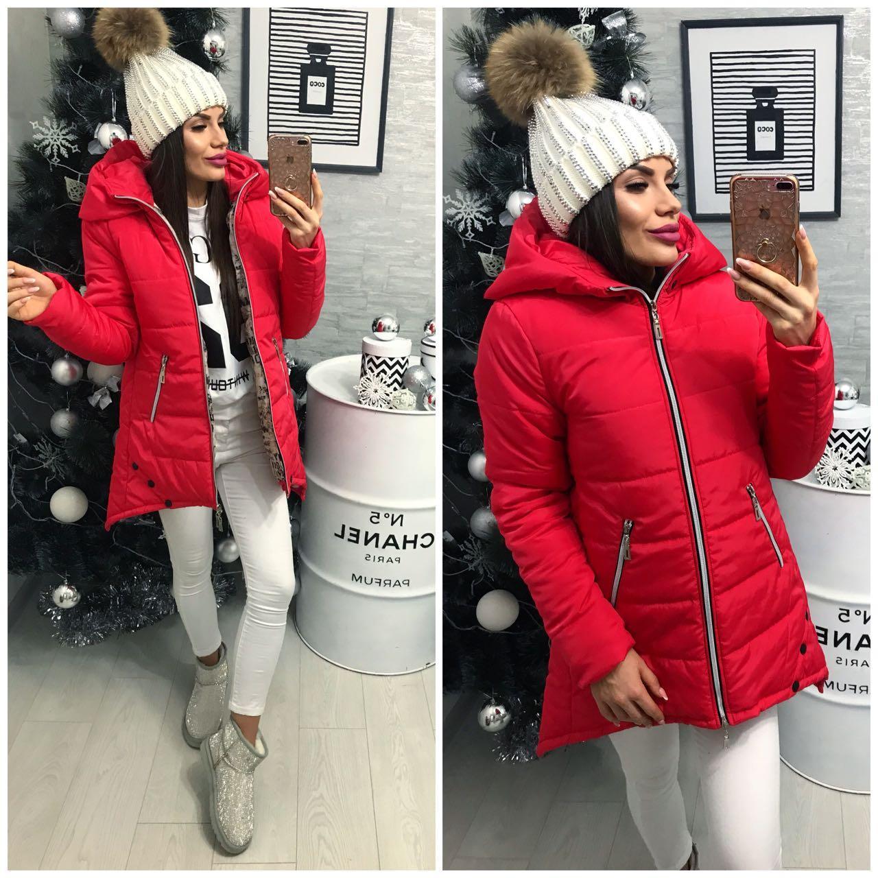 Куртка парка женская (305) зима алый