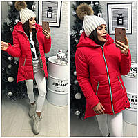Куртка парка женская (305) зима алый, фото 1