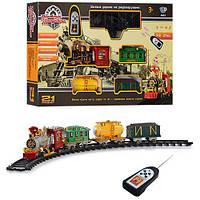 Железная дорога 0622/40353, р/у, локомотив27 см, вагоны2 шт., 21 деталей, муз(укр), св, дым, на батарейке, в коробке, 69-43, 5-10 см