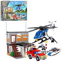 Детский конструктор AUSINI 23803, полиция, здание 2этажа, транспорт, фигурки, 476 деталей