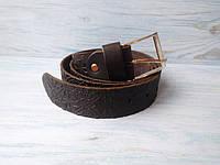 Мужской кожаный ремень темно-коричневый в этно стиле