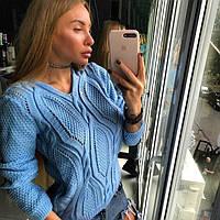 Вязаный свитер женский ажурный