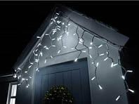 Уличная гирлянда бахрома 3x0,7м с мерцанием 100 LED (большой диод) на белом каучуковом проводе