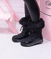 Дутики на платформе теплые черные на шнурке код 18848