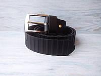 Мужской кожаный ремень черный рифленый