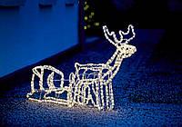 Светящиеся, новогодний олень с санками на улицу. Длина 125 см