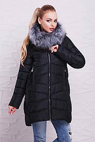 Черная зимняя женская куртка с мехом чернобурки и капюшоном большой размер 48,50, 52,54,56