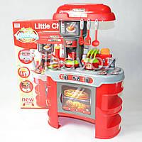 Детская игрушечная кухня со звуком, плита для девочки 2 конфорки красная Little Chef